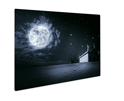 Ashley Giclee Clear Night Halloween, Wall Art Photo Print On Metal Panel, Color, 24x30, Floating Frame, (How Was Halloween Created)