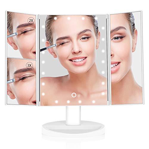 SKM Espejo de Maquillaje Vanidad con 24 Luce LED y 1X / 2X / 3XLupa, Plegable Maquillaje Espejo de Vanidad Rotación...