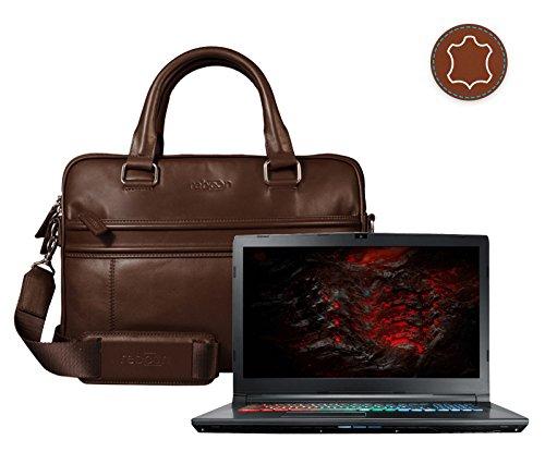 reboon Echt-Leder Laptop-Tasche in Braun Leder für MSI GP72 7RDX 650DE Leopard 17 3 | 17 Zoll | Notebooktasche Umhängetasche | Damen/Herren - Unisex | Premium Qualität Braun Leder