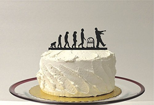 Evolution Of the Zombie Cake Topper Zombie Apocalypse Wedding Cake Topper Birthday Cake Topper Halloween Cake Topper Zombie Silhouette ()