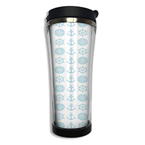 - Customizable Travel Photo Mug with Lid - 14.2OZ(420 ml) Stainless Steel Travel Tumbler, Makes a Great Gift by,Nautical Decor,Compass and Anchor Pattern Vertical Line Navigation Captain Vacation Travel
