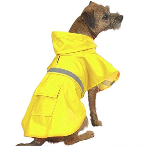 OCSOSO Pet Dog Slicker Raincoat Gear Brite Rain Jackets Dog Cat Hooded with Reflective Band (Yellow, S Back: 12