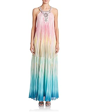 BcbgMaxazria Women's maxi dress Chelsie Sunburst Pleated Gown long ombre XXS SIZE