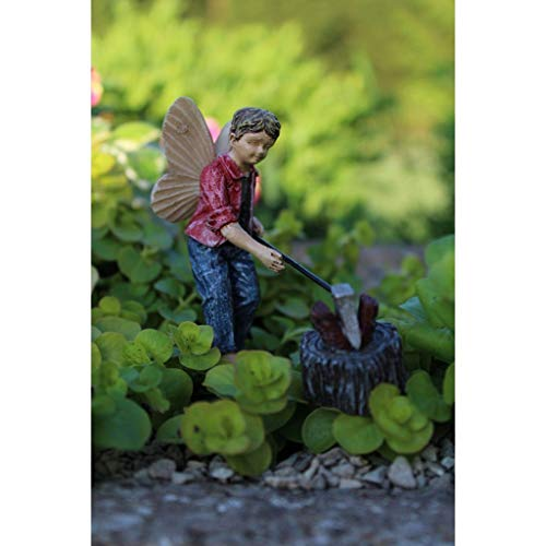 ShopForAllYou Figurines and Statues Fairy Garden Fun Huck w/Log and Axe Boy Fairy Chopping Wood Dollhouse Figurine