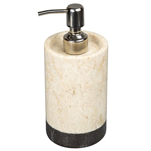 Creative Home Natural Champagne Marble 2-Tone Banded Liquid Soap, Lotion Dispenser