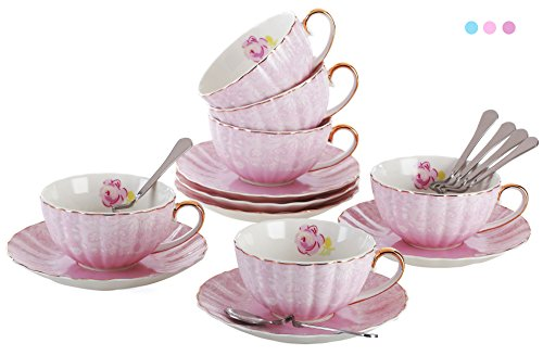 Jusalpha Porcelain Tea Cup and Saucer Coffee Cup Set with Saucer and Spoon Set of 6 (FD-TCS04 (6) Pink)