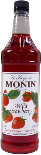 Monin Flavored Syrup, Wild Strawberry, 33.8-Ounce Plastic Bottle (Pack of - Berry Wild Monin