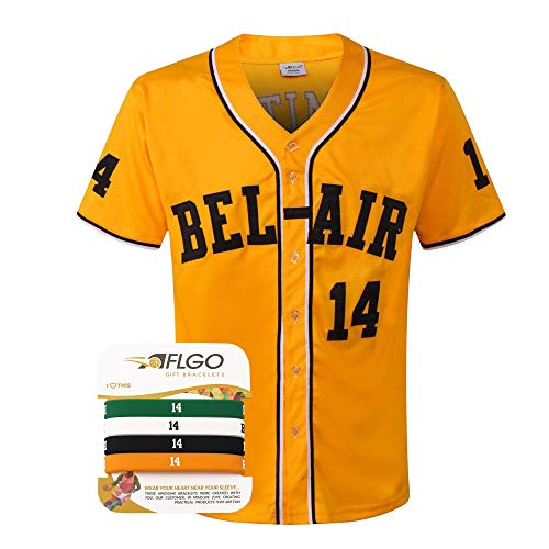 AFLGO Fresh Prince of Bel Air #14 Baseball Jersey Yellow - 90's Clothing Throwback Will Smith Costume Athletic Apparel Clothing Top Bonus Combo Set with Wristbands (Yellow, ()