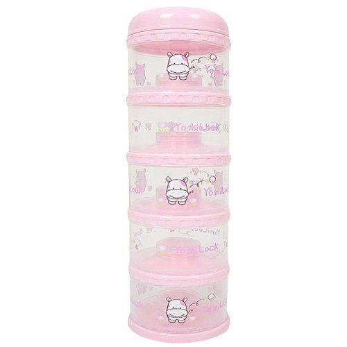 (Yomilock 5-Layer Antibiotic Milk Powder Container / Dispenser, Pink - Made In Korea)