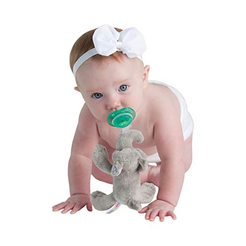 Nookums Paci-Plushies Buddies - Elephant Pacifier Holder - Adapts to Name Brand Pacifiers, Suitable for All Ages, Plush Toy Includes Detachable Pacifier