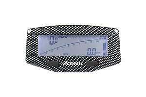 Acewell ACE-1600C - Tacómetro digital para moto (con cuentarrevoluciones, indicador de nivel de combustible y temperatura, luces LED), color gris