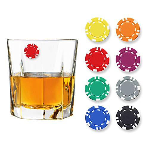 Claim Your Glass POKER CHIPS Cocktail/Wine Charm Drink Markers, Set of 8 - Magnetic Drink Markers for Stemmed or Stemless Glasses