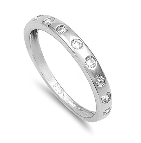 (Round Bazel Set Cubic Zirconia Stackable Ring 925 Sterling Silver Size)