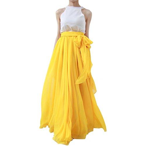 Lanierwedding Summer Beach Chiffon Long High Waist Maxi Skirt with Belt for Wedding 2017