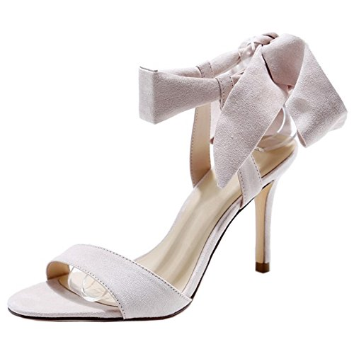COOLCEPT Mujer Moda Cordones Sandalias Tacon de Aguja Slingback Sandalias Punta Abierta Zapatos Albaricoque
