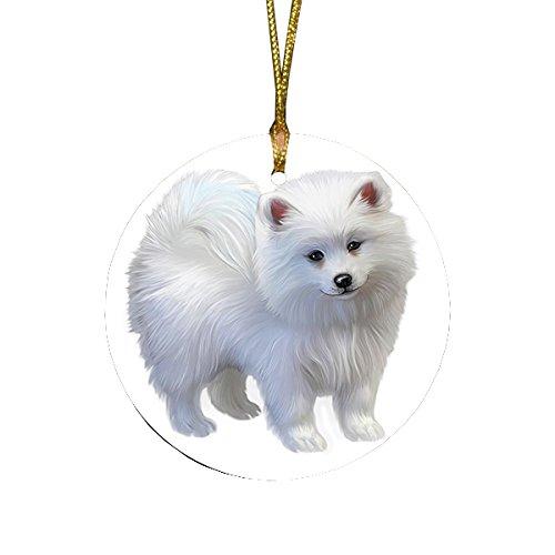 - American Eskimo Puppy Dog Round Christmas Ornament