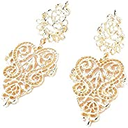 Women's Gold Dangle Chandelier Earrings Filigree Tiered Hollow Cutout Earrings for Party Prom Mother's Day Valentine Birthda