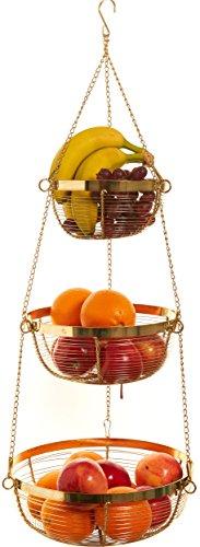 Useful. 3 Tier Hanging Fruit Basket (Gold) (Baskets Copper Hanging)