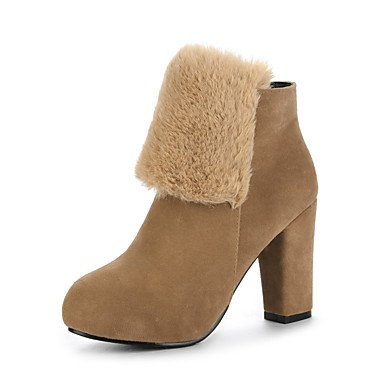 Office Toe 5 Boots Shoes EU38 Camel Round Boots Boots US7 Ankle Fall Zipper amp; RTRY Fashion Dress For Winter Career Booties 5 Flocking Chunky Heel CN38 UK5 Women's PTYqC