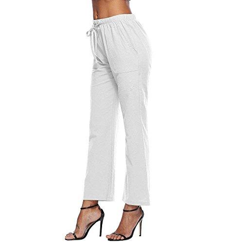 Vita Con Larghi Elastica Moda Baggy Pantalone Tempo Donna Eleganti Bianca Fashion Estivi Monocromo Per Libero Coulisse Accogliente Pantaloni Grazioso zqwHR5xO