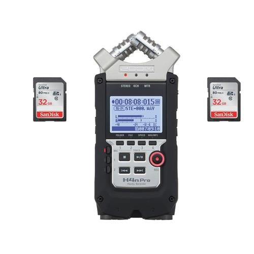 Zoom H4n Pro Handy Mobile 4-Track Recorder - with 2 Pack 32GB SDHC Card