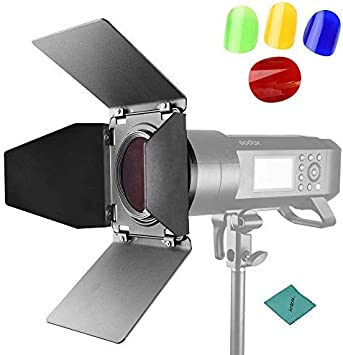 Godox BD-04 Barn Door /& Honeycomb Grid /&4 Color Gel Filters Compatible for AD-R6 Standard Reflectors for AD600B//AD600BM//AD600Pro//SL60W//SL150W//SL200W//MS200//MS300,W//pergear Cleaning Kit