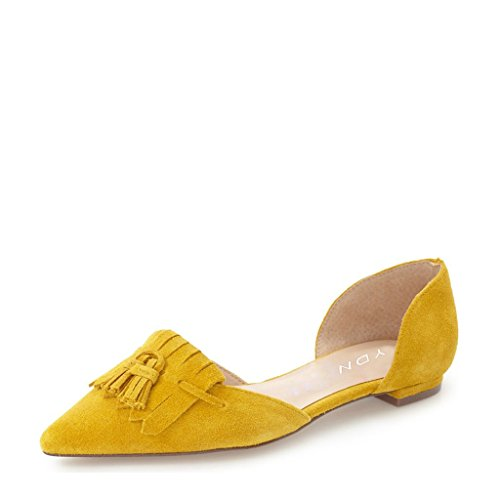 YDN Women Chic Fringes Pointy Toe D'orsay Pumps Slip on Flats Suede Tassels Casual Shoes 9 (Yellow Pointy Toe Pumps)