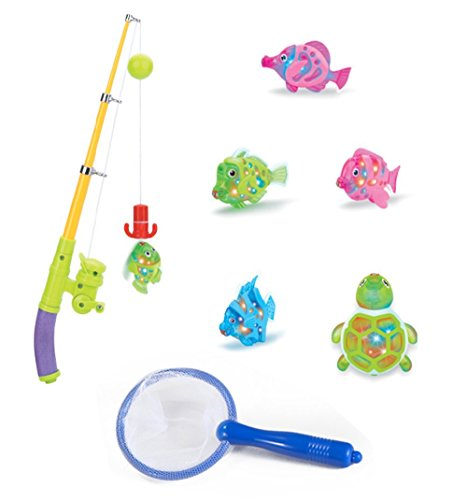 Zviku magnetic light up fishing baby bath toys set for for Baby fishing pole