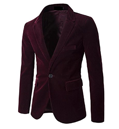 Mens Red Velvet Suit (Aprilley Mens 1 Button Solid Long Sleeve Velvet Business Suit Jackets Wine Red XL)