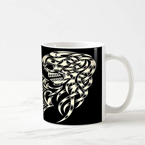 Ahawoso Coffee Tea Mug 11 Ounces Tattoo Ornate Skull Cross Crucifix Celtic Skeleton Tribal Black 11Oz Ceramic Tea Cups Gift Great Boss Coworker Friend Present ()