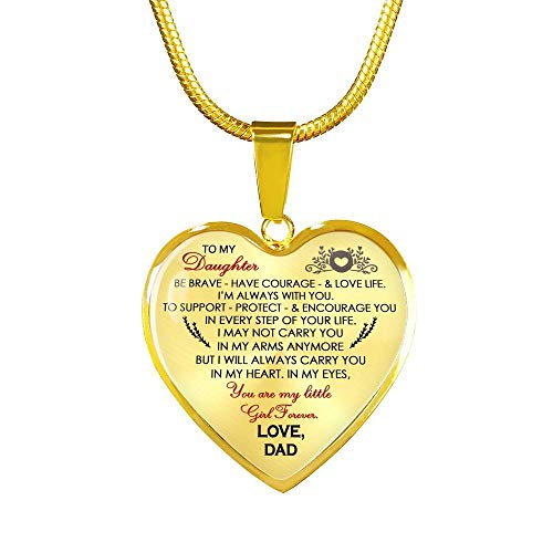 Daughter Heart Pendant You are My Little Girl Forever Necklalce from Dad - Father and Daughter Necklaces - Christmas Birthday Gifts for Little Girl, Child
