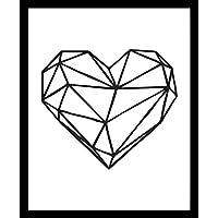 Corazon Geométrico Geometria Amor Heart Impresion, Cuadro decorativo Print Love Te Amo Regalo Arte Poster Cuadro Decorativo Art Wall Art Vintage Decor Home Decor Decoración Retro Hipster Cool