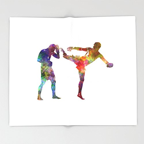Society6 Two men exercising thai boxing silhouette 01 Throw Blankets 88'' x 104'' Blanket by Society6