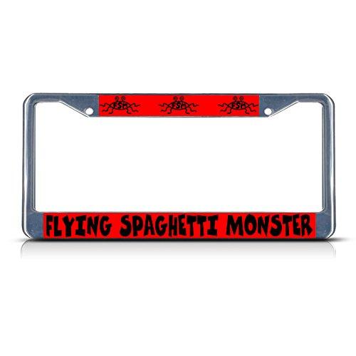 Fastasticdeals Flying Spaghetti Monster Chrome Metal License Plate Frame Tag Holder ()