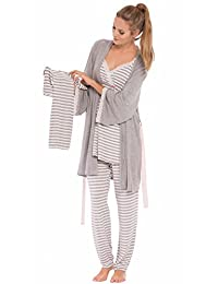 Olian Maternity Anne Stripes 4-Piece Nursing PJ Set with Baby Outfit - M