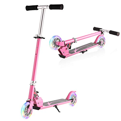 Hikole Kids Scooter for Boys Girls Age 3-8 | 2 Wheel Foldable Adjustable Mini Kick Scooter, Birthday Present for Children Age from 4 to 10 (Pink)