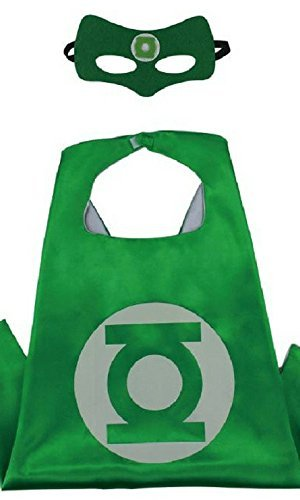 Green Lantern Child Costumes (Honey Badger Brands Dress Up Comics Cartoon Superhero Costume With Satin Cape and Matching Felt Mask (Green Lantern))