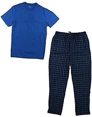 Men's 2 Pc Pajama Set Cotton Blend Crew Neck Top Flannel Bottoms (XL)