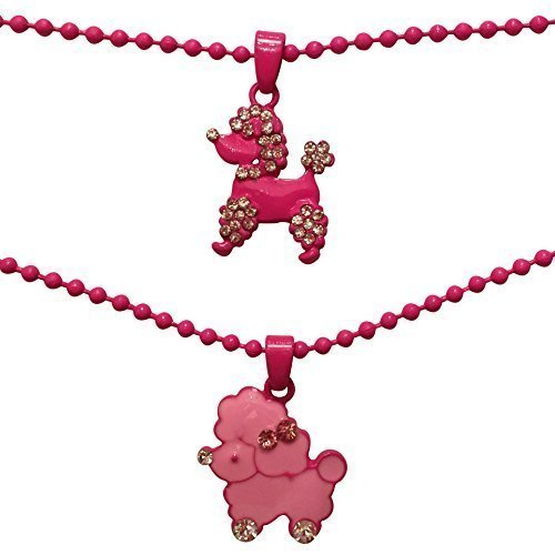 EverKid Kids Fashion Jewelry Set of 2, Cute Poodle Puppies Charm Pendant Necklaces -