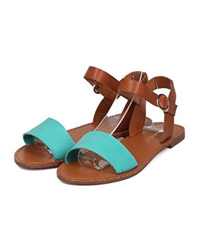 Sandalo Alla Caviglia In Similpelle Breckelles Donna - Casual, Ogni Giorno, Estate - Sandalo Flat Toe Aperto - Gg25 By Aqua