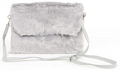59af828c794e Aliado Fashion Faux Fur Grey Sling Clutch Stylish Bag  Amazon.in ...