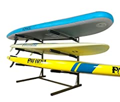 The Stoneman Sports G-200 Glacik Freestanding SUP Storage Rack System has a maximum weight capacity of 180-pounds and stores up-to (3) SUPs or surfboards at once. This unit lets you store boards flat or on an angle and features removable arms...