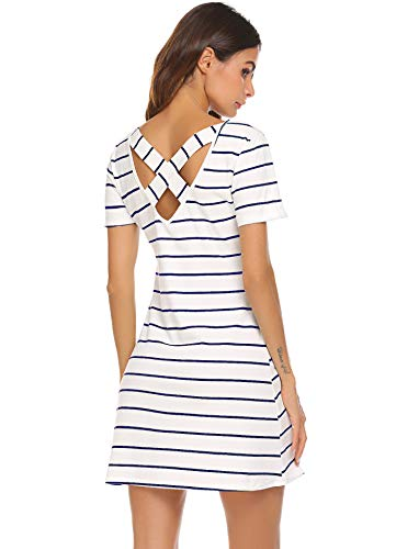 Feager Women's Casual Striped Criss Cross Short Sleeve T Shirt Mini Dress with Pockets (L, White Blue)