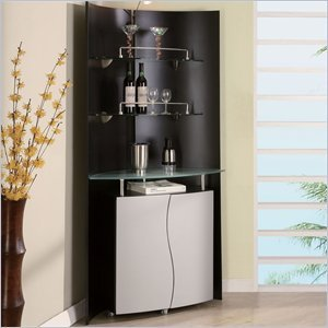 Amazon.com: Corner Home Bar Unit in Black and Silver: Kitchen & Dining