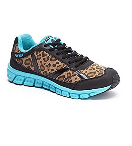 Run Wild Leopard Turquoise Athletic Shoe (12) (Leopard Tennis Shoes For Women)