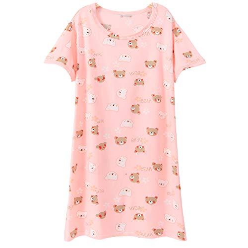SYROSA Big Girls Nightgowns Children Pajamas Sleep Night Dress Coton Pink Bear Flower 11-12 Years]()