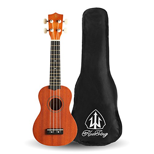Honsing Ukulele Soprano With Gig Bag for Beginners 21'' Sapelli Hawaiian Uke Gifts - Reddish Brown by honsing