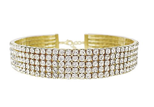 LuxeLife Gold Rhinestone Choker 5 Row Women