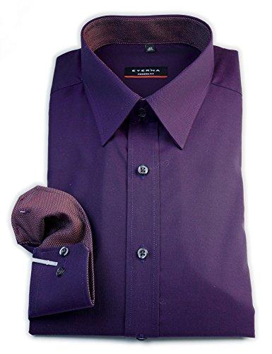 ETERNA Herren Langarm Hemd Modern Fit lila (beere) strukturiert mit Patch 8551.99.X148