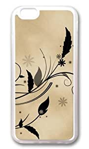 MOKSHOP Adorable Feather and flora flowers leaves parchment vines Soft Case Protective Shell Cell Phone Cover For Apple Iphone 6 (4.7 Inch) - TPU Transparent